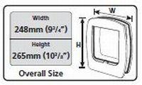 Ajtó külmérete 248mm x 265mm